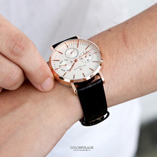 范倫鐵諾˙古柏三眼皮革手錶正品原廠公司貨柒彩年代【NEV41】單支售價