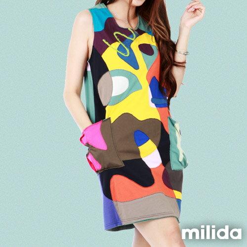 【Milida,全店七折免運】無袖大口袋可愛洋裝 7