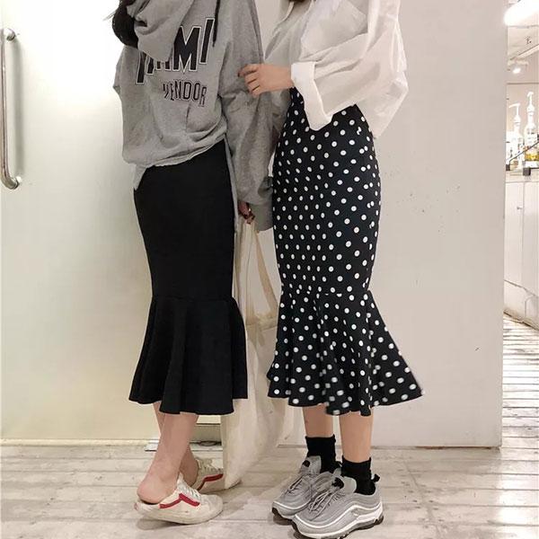 魚尾半身裙長裙中長裙魚尾裙荷葉邊包臀點點黑復古顯瘦裙子ANNAS.