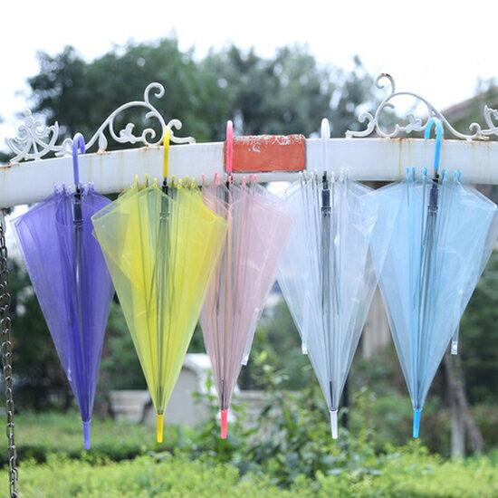 ♚MY COLOR♚透明果凍色長柄雨傘 表演 拍攝 道具 男女 兒童 陰天 雨天 創意 學生 上班族【T20】