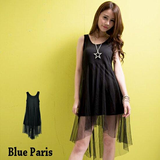 洋裝 - 純色網紗拼接前短後長連身裙【11859】藍色巴黎《3色 》現貨 MIT