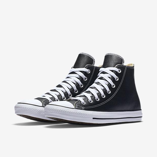 CONVERSE CTAS Leather 男鞋 女鞋 休閒 皮革 高筒 荔紋 壓印 黑 【運動世界】 132170C
