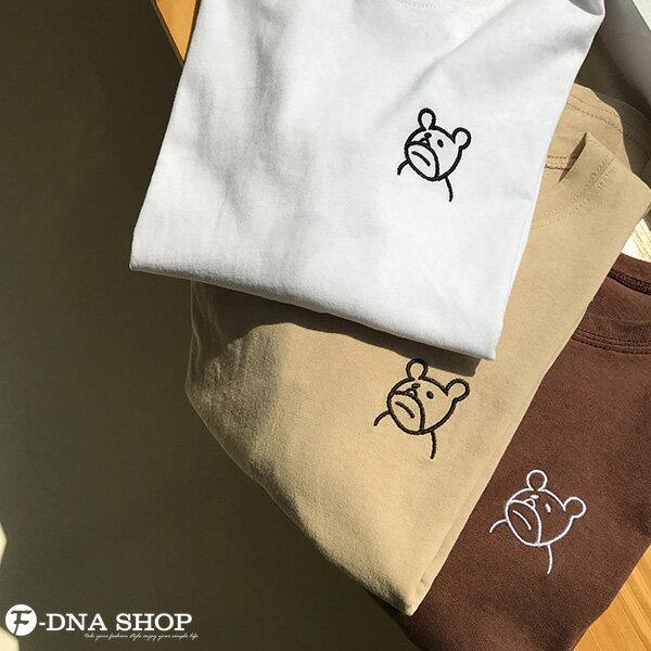 F-DNA★萌萌小熊刺繡圓領短袖上衣T恤(3色-均碼)【ET12703】 6