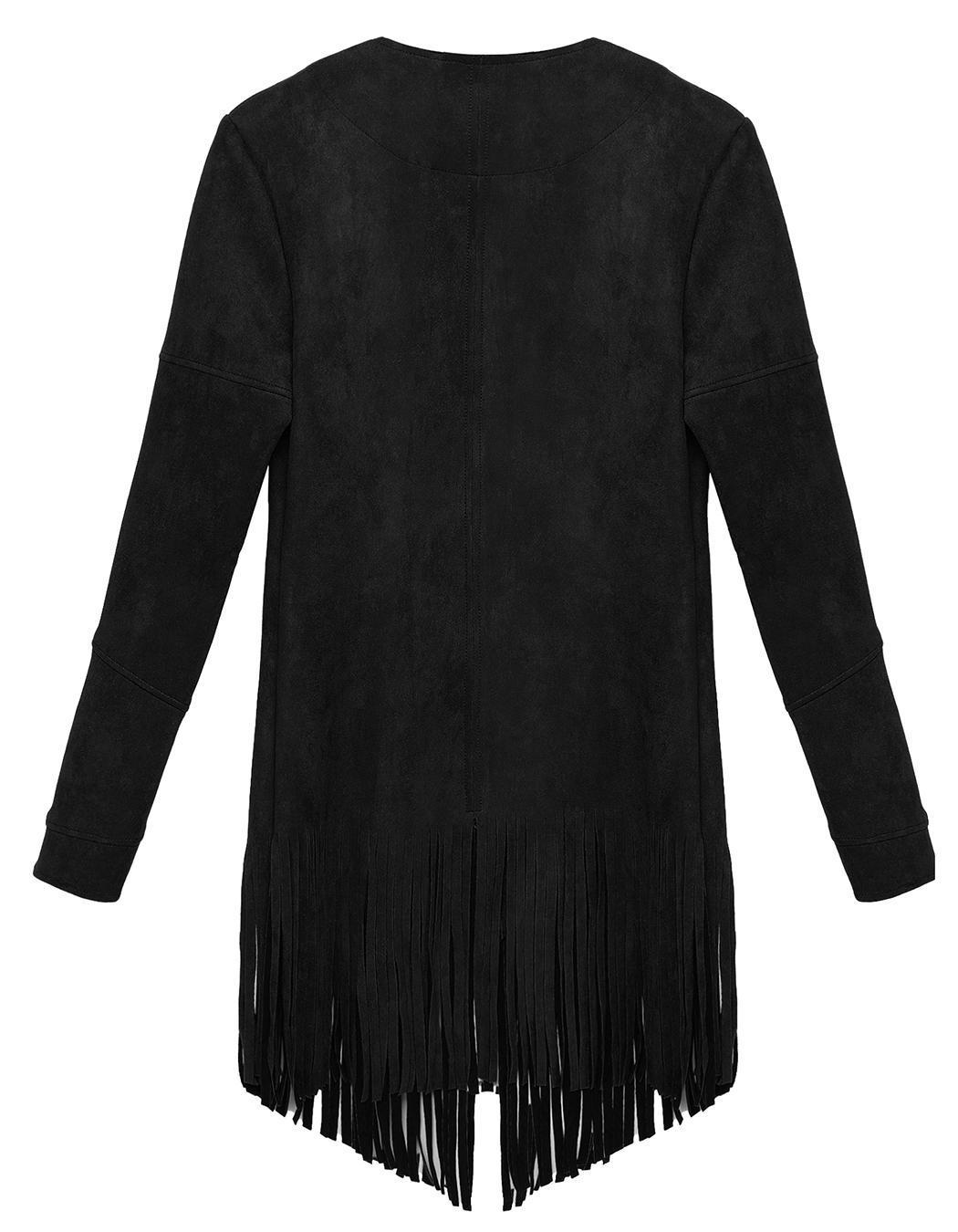 Women Casual Cardigan Long Sleeve Solid Tassel Long Coat 0