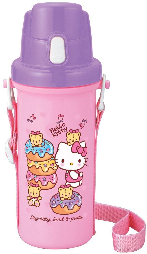 X射線【C101069】Kitty直飲式水壺(粉.甜點)600ml日本製,水瓶/隨身瓶/飲水壺/塑膠水壺