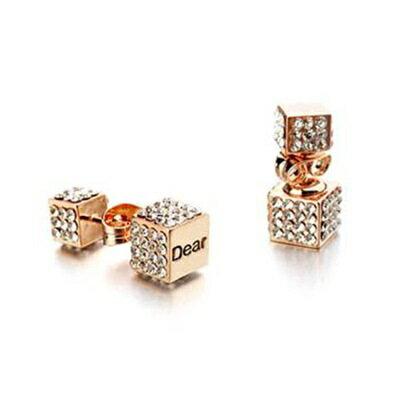 玫瑰金耳環925純銀鑲鑽耳飾~英文刻字方型 七夕情人節 女飾品2色73gs236~ ~~米