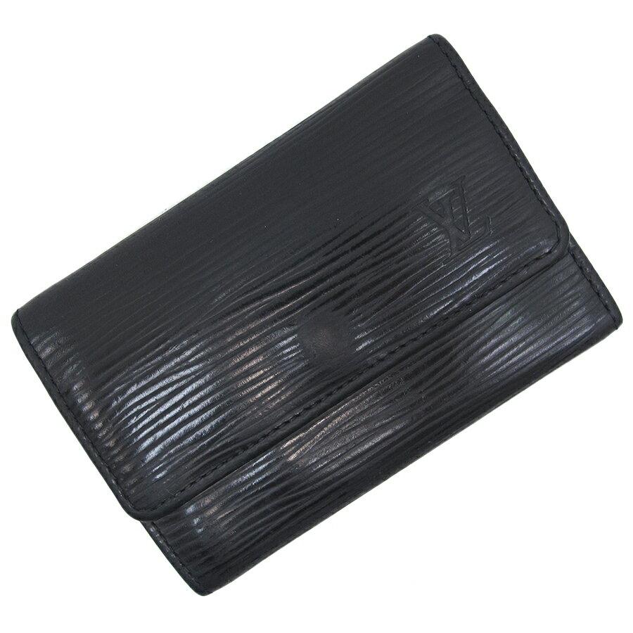 【奢華時尚】秒殺推薦!LV M63812 新款低調奢華風-EPI麥穗壓紋黑色四孔鑰匙包(八五成新)#20060