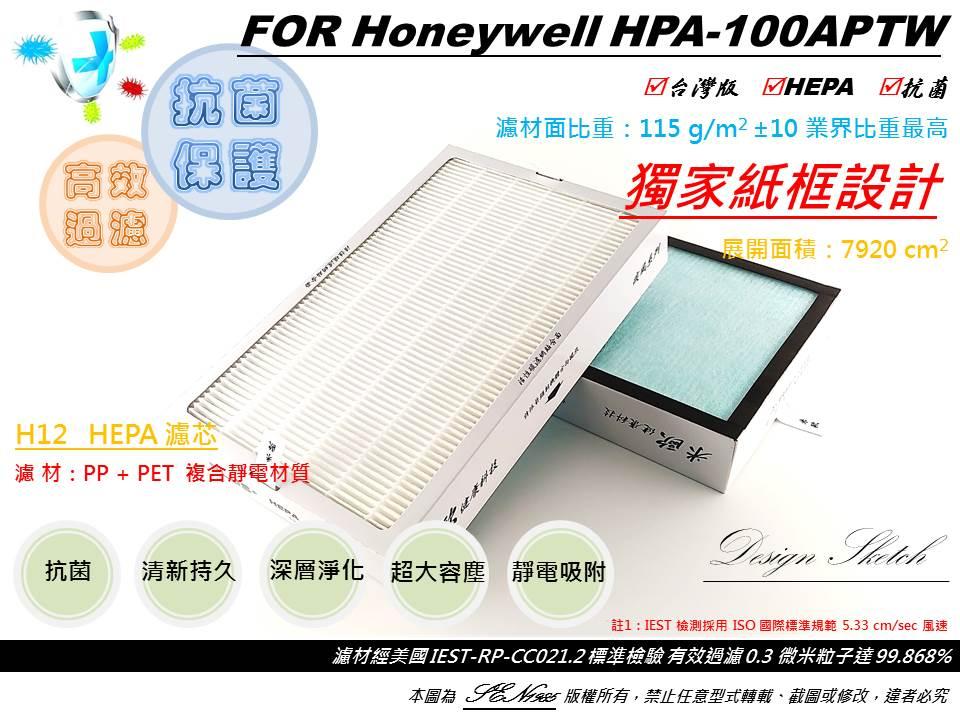 【米歐 HEPA 濾心】適用 Honeywell 抗敏系列 HPA-100APTW 空氣清淨機 規格同 HRF-R1