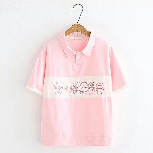 *ORead*小豬印花拼色寬鬆翻領短袖T恤(3色M~L) 2