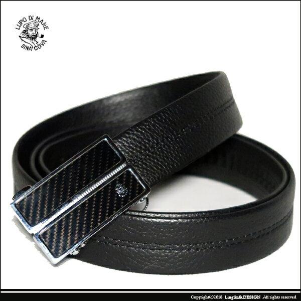 良林皮件:【SINACOVA】老船長單線荔枝紋紳士自動扣皮帶SC11605-1