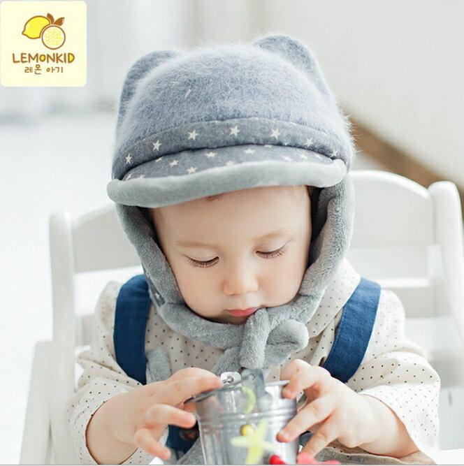 Lemonkid◆秋冬超萌可愛立體耳朵五角星質感兒童舒適毛絨帽-灰色