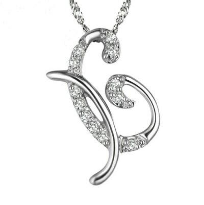 925純銀項鍊 鑲鑽吊墜~ 優雅英文字母X七夕情人節 女飾品73dj25~ ~~米蘭 ~