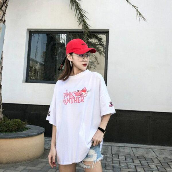 糖衣子輕鬆購【GH5211】韓國原宿bf風時尚潮流卡通粉紅豹嘻哈T恤上衣