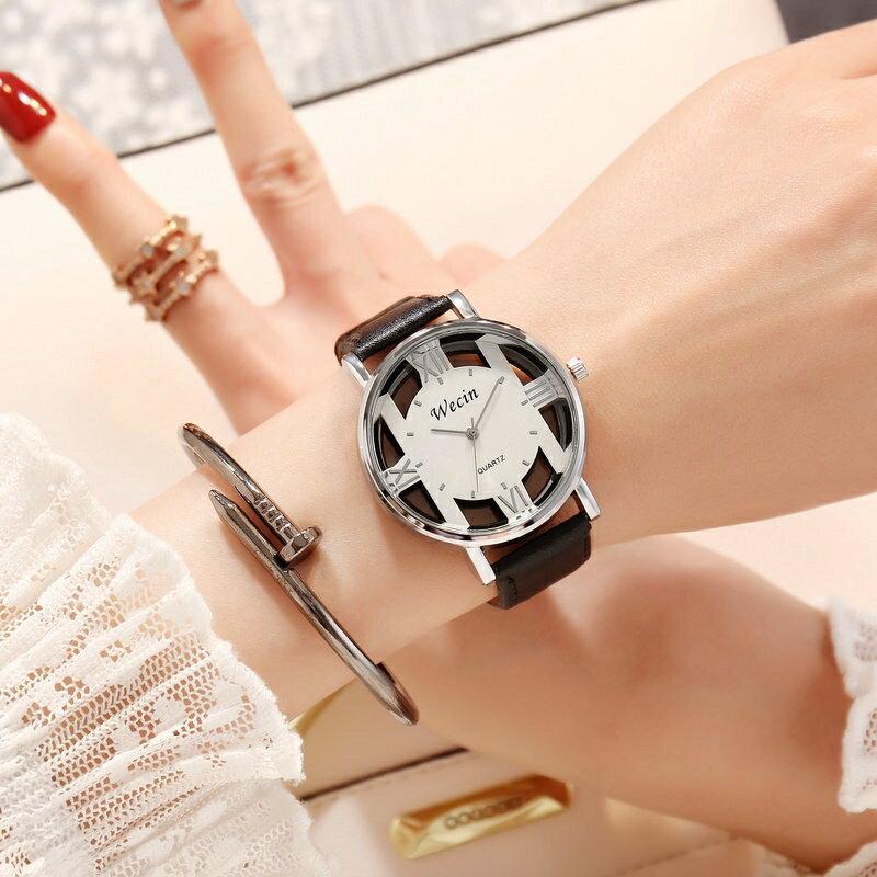 韓版潮流男手表鏤空女表學生時尚簡約原宿情侶全自動非機械石英表