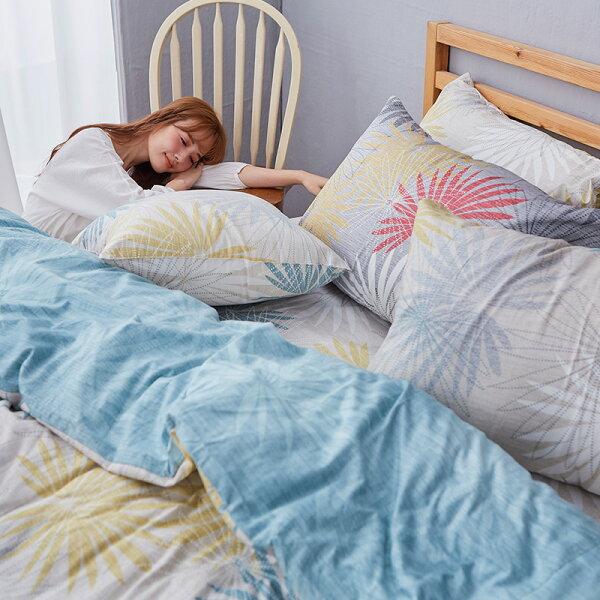 床包單人-100%精梳棉【花火祭典-白】含一件枕套,戀家小舖,台灣製