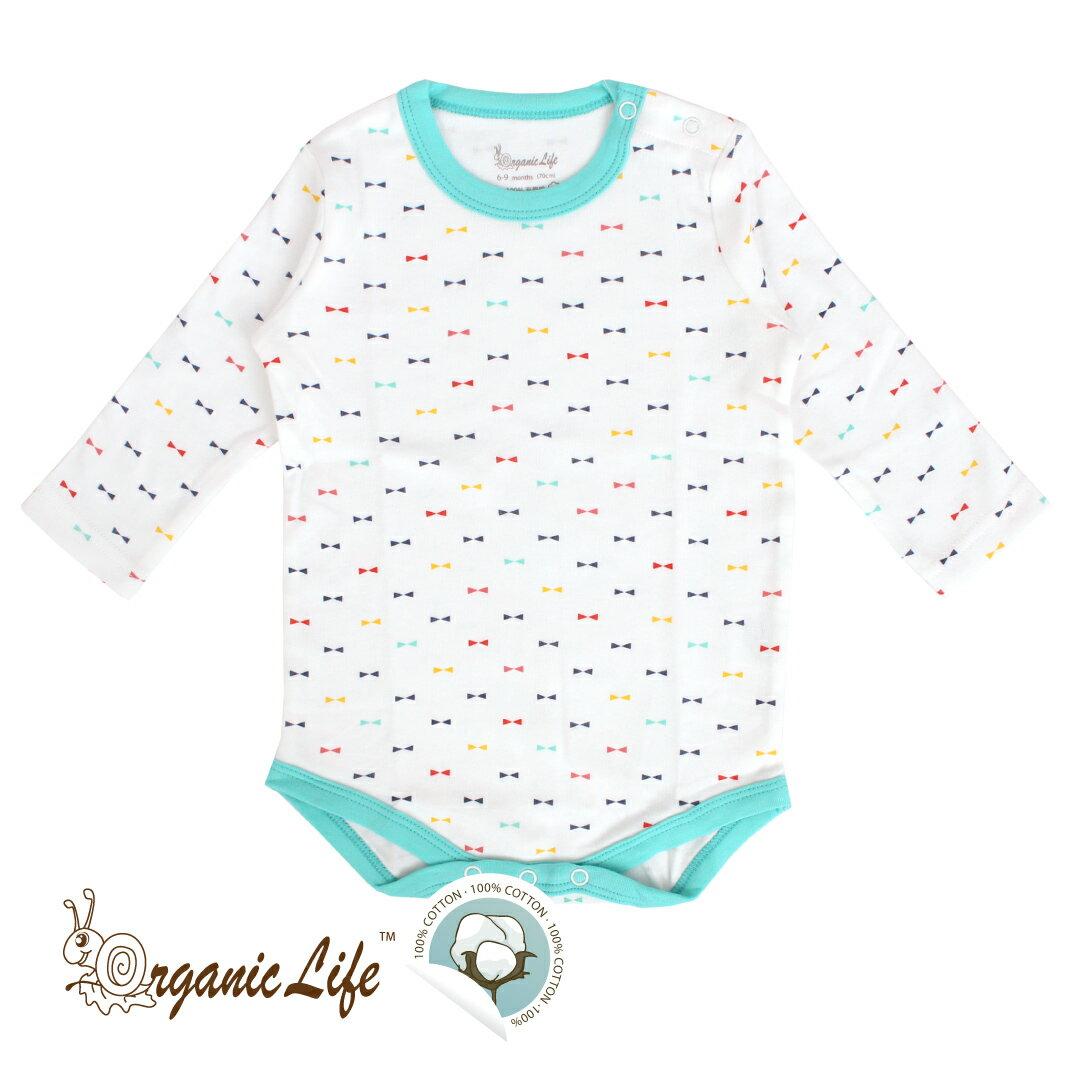 ★有機棉★Organic Life長袖嬰兒連身包屁衣-藍綠幾何(0-12M)【小丁婦幼】