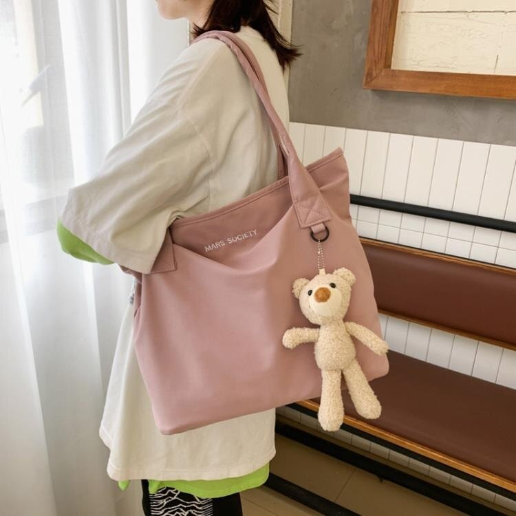 帆布包女 小熊帆布單肩包網紅包包女ins布袋學生簡約大容量小清新韓版書包 摩可美家