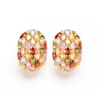 ~純銀耳環鍍18K金鑲鑽耳飾~ 繽紛耳夾式生日情人節 女飾品73cr83~ ~~米蘭 ~