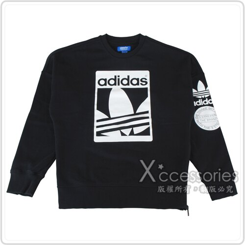 adidas Originals風格羅紋圓領長袖T恤(男/黑+白)