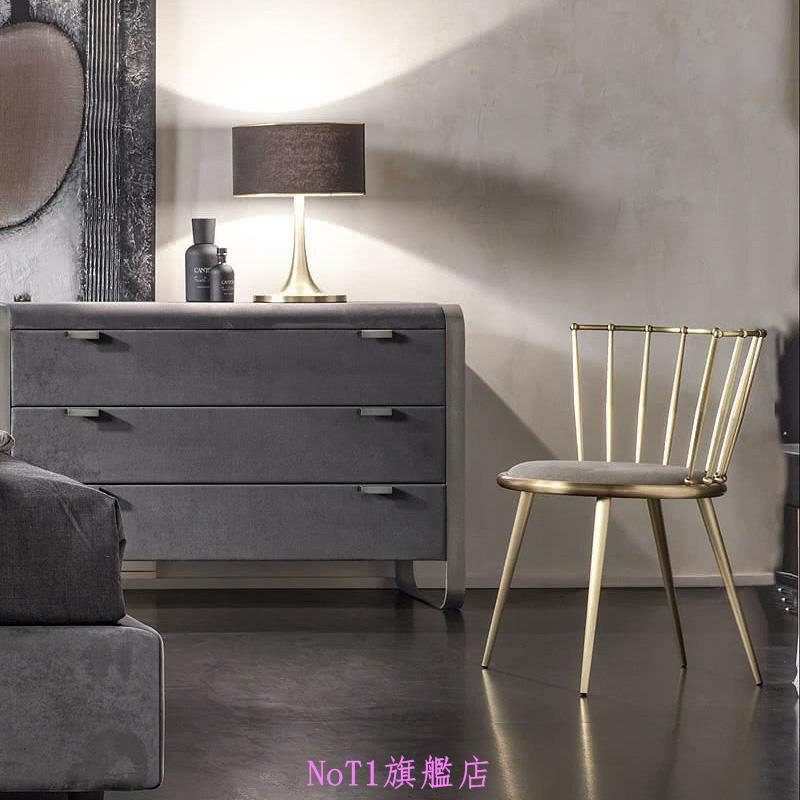 北歐簡約鐵藝金色餐椅咖啡廳桌椅彩色椅子設計師椅創意布藝餐廳椅 愛尚優品