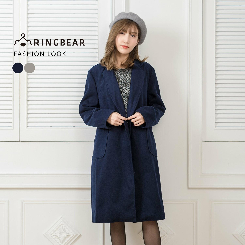 外套--優雅氣質英倫風西裝領單排釦貼式口袋長版毛呢大衣(灰.藍L-3L)-J320眼圈熊中大尺碼 0