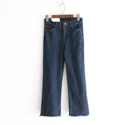 牛仔褲直筒長褲-微復古自然率性毛邊女褲子2色73tq13【獨家進口】【米蘭精品】