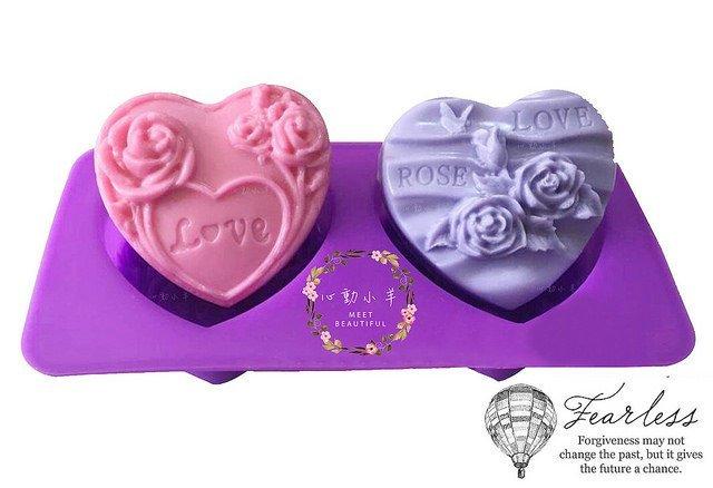 心動小羊^^愛心LOVE玫瑰2孔皂模耐高溫矽膠果凍、巧克力、蛋糕、蠟燭模