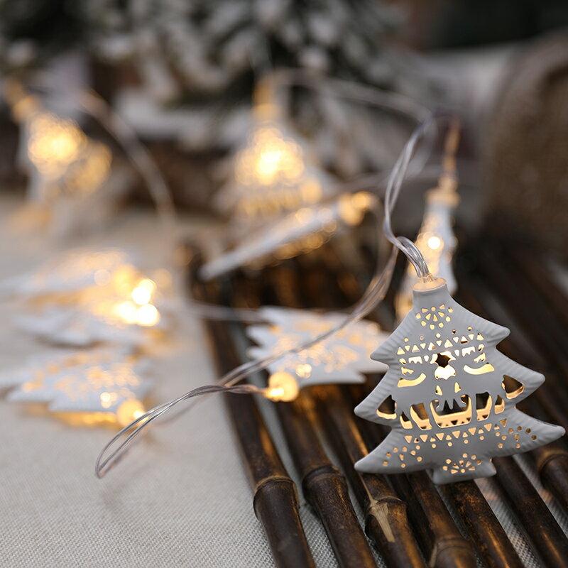 圣誕節裝飾品串燈暖色燈LED燈串場景布置圣誕樹掛件店鋪櫥窗掛飾 小山好物