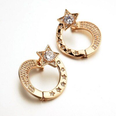 玫瑰金耳環925純銀鑲鑽耳飾 ~ 潮流星星 生日情人節 女飾品2色73gs95~ ~~米蘭