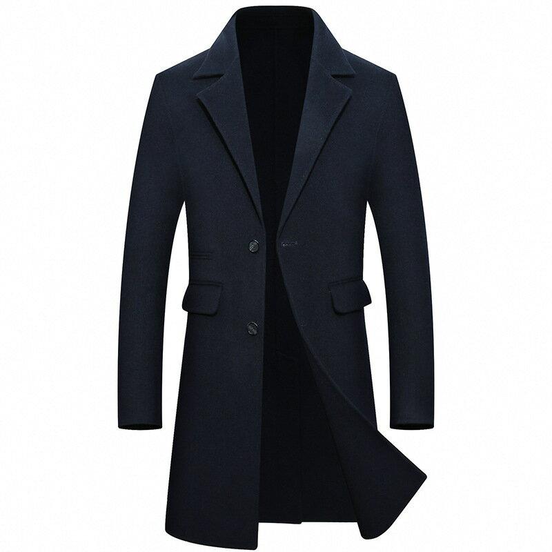 毛呢大衣長版風衣-西裝領商務修身羊毛男外套4色73wk25【獨家進口】【米蘭精品】 2