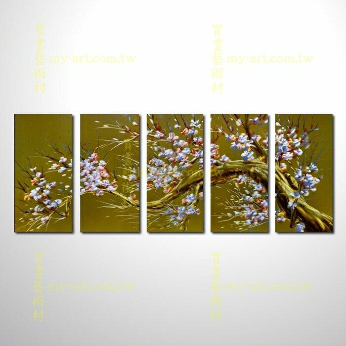 金屬光畫,梅香滿堂,五福臨門,五拼花卉,油畫,居家佈置,梅花,黃紅CHB6015072