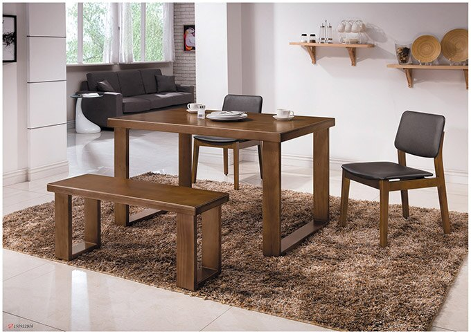 【尚品傢俱】HY-A427-01 羅本北歐4.3尺淺胡桃全實木餐桌