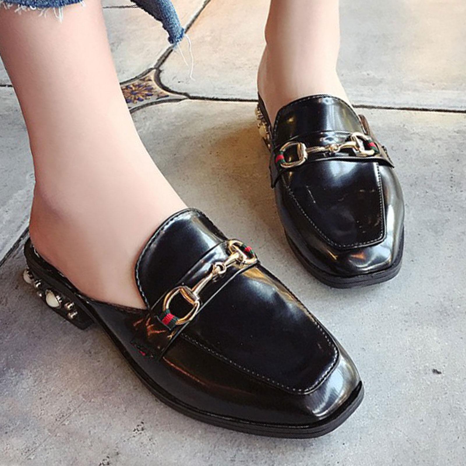 懶人鞋 淺口珍珠裝飾方頭粗跟半拖鞋【S1693】☆雙兒網☆ 4