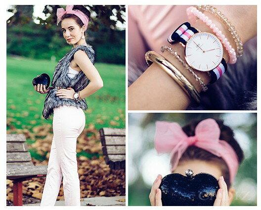 瑞典正品代購 Daniel Wellington 0506DW 玫瑰金 尼龍 帆布錶帶 女錶手錶腕錶 36MM 4