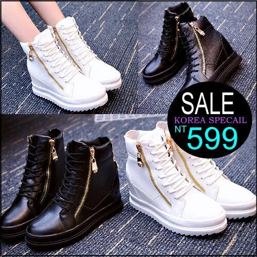 ☆克妹☆現貨+預購【ZT32140】歐美時尚龐克拉鍊心機系厚底內增高皮質休閒鞋