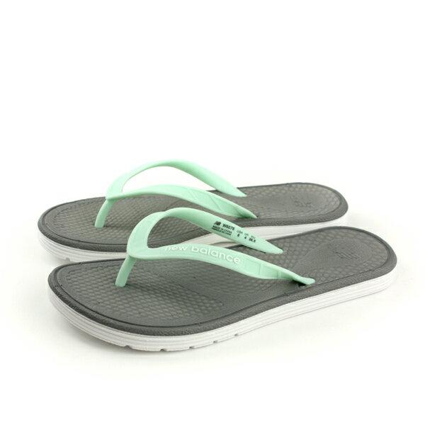 NEW BALANCE 夾腳拖鞋 人字拖 防水 雨天 淺綠色 女鞋 W6076WG-B no409