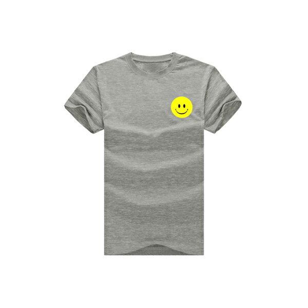 ◆快速出貨◆T恤.情侶裝.班服.MIT台灣製.獨家配對情侶裝.客製化.純棉短T.左胸簡單黃色笑臉【YC366】可單買.艾咪E舖 6