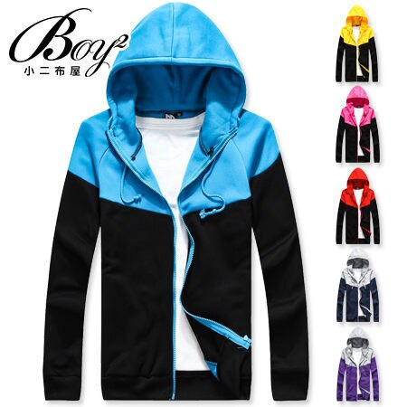 ☆BOY-2☆【OE0501-1】美式休閒配色刷毛連帽外套 0