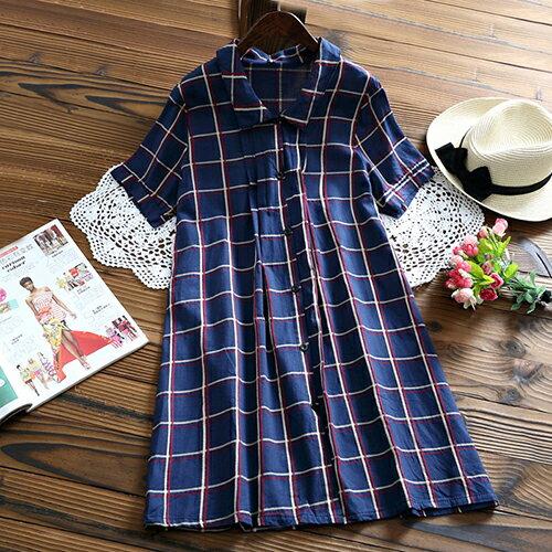 全店65折滿$599免運 寬鬆格子襯衫外套連身裙 (深藍色,M~2XL) - ORead 自由風格【0320-25 全店滿799再折100,代碼 SpringSale】