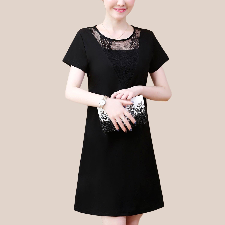 連身洋裝--優雅氣質V型立體蕾絲拼接圓領A字連身裙(黑L-3L)-D525眼圈熊中大尺碼 0