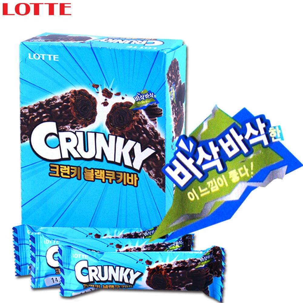 有樂町進口食品 韓國進口 Lotte Crunky黑巧克力棒 12入  K15 8801062637966 - 限時優惠好康折扣