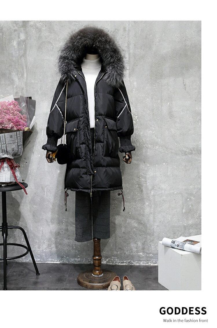 真貉子毛領羽絨外套大衣正韓國空運織帶飾邊80%白鴨絨  中大尺碼【52-25-86136-18】ibella 艾貝拉