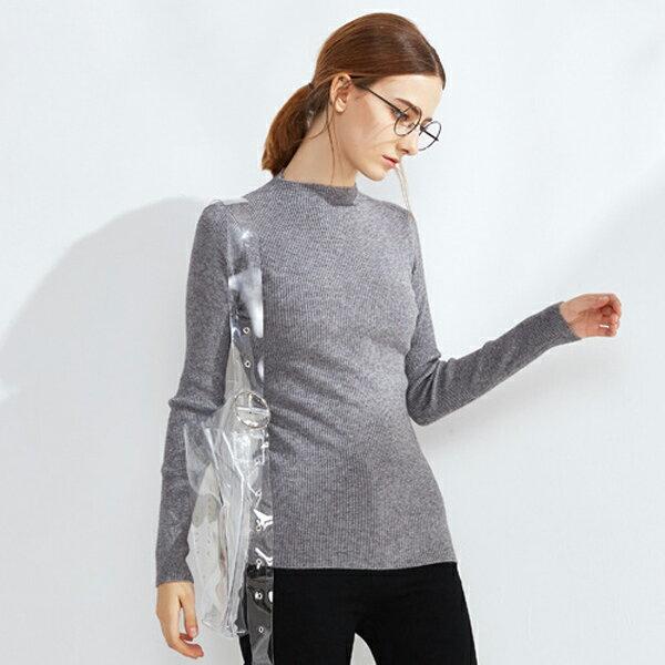 針織衫 簡約半高領羅紋毛衣上衣 歐美 預購【11-24-8150】ibella 艾貝拉