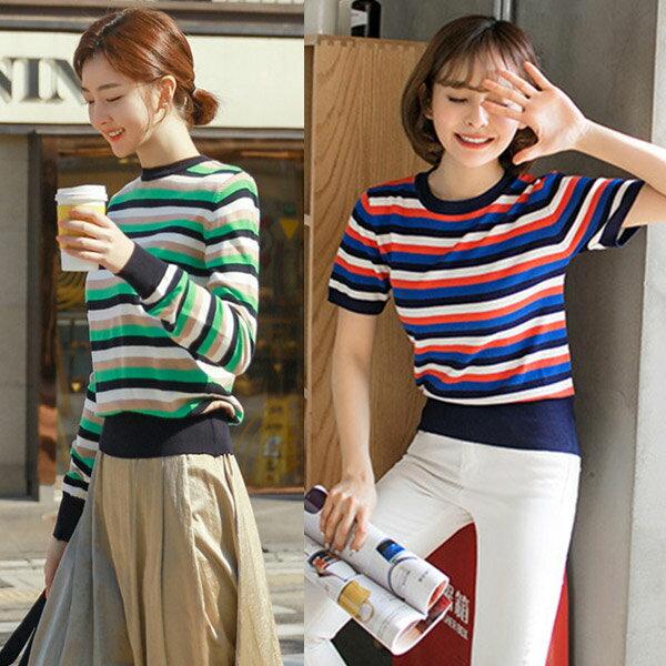 彩色條紋針織衫上衣韓版【19-14-8512-18】ibella艾貝拉