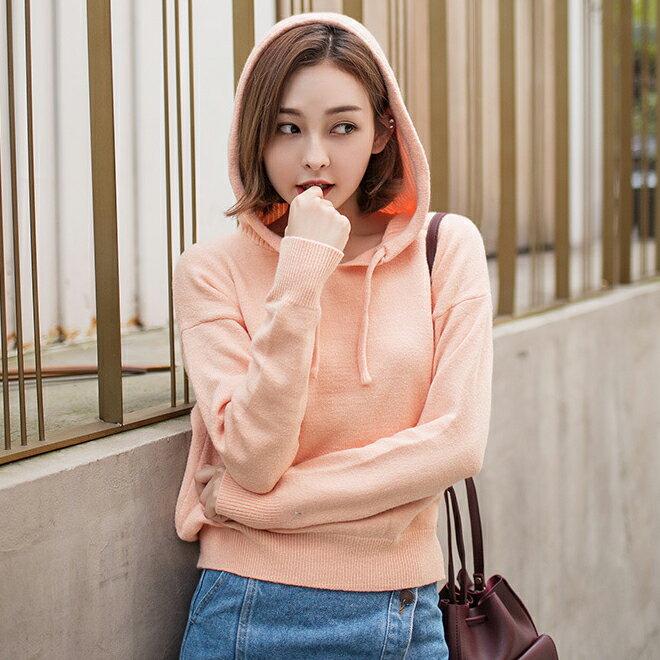 針織衫 優質連帽毛衣上衣 韓 預購【19-24-82002】ibella 艾貝拉