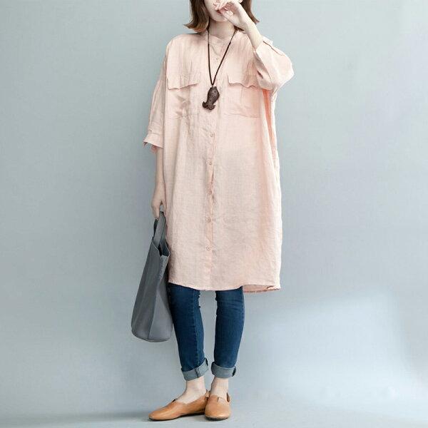 簡約襯衫式洋裝長版上衣大尺碼韓版預購【28-12-83526-18】ibella艾貝拉