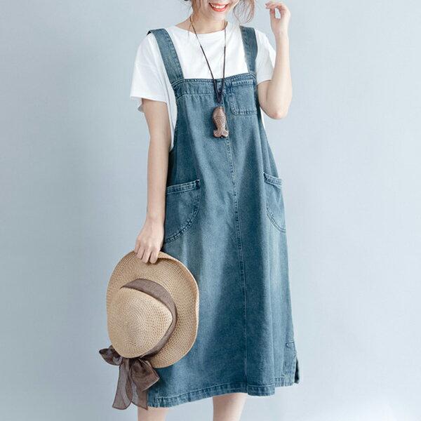 大口袋牛仔吊帶裙洋裝【28-16-81718-18】ibella艾貝拉