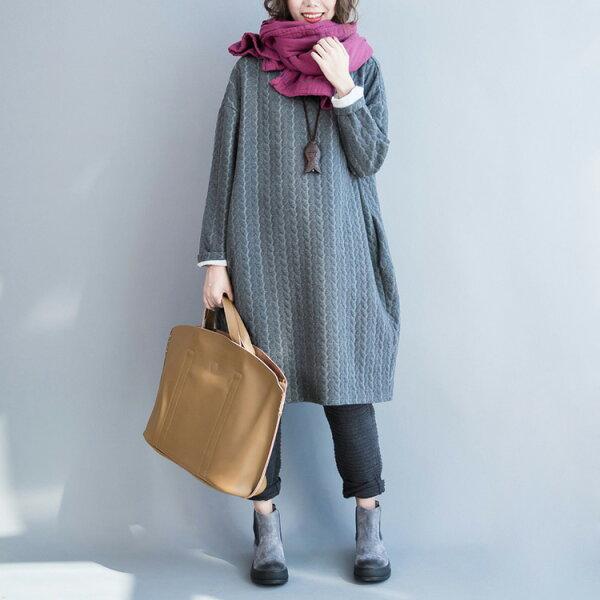 雙層夾棉洋裝連身裙上衣T恤中大尺碼【28-26-8004-18】ibella艾貝拉