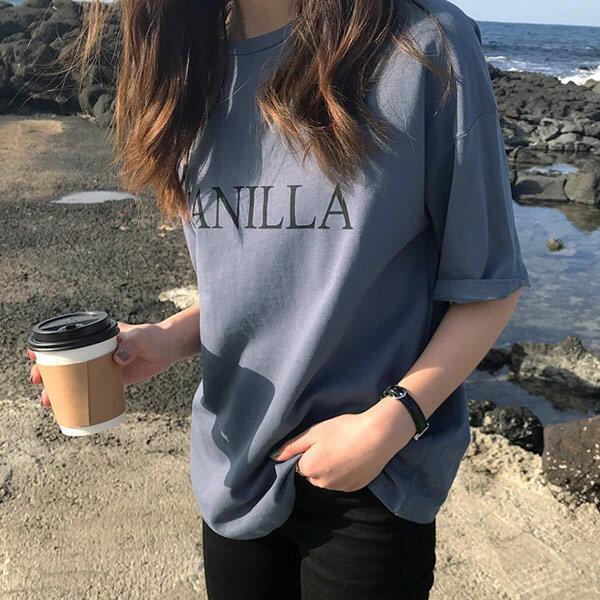 字母印花上衣短袖T恤  【29-11-853175-18】ibella 艾貝拉