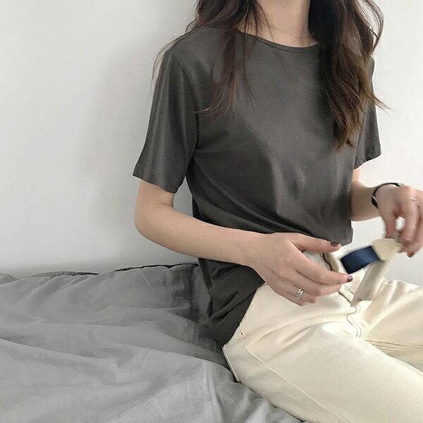 百搭素面上衣短袖T恤  【29-11-853262-18】ibella 艾貝拉